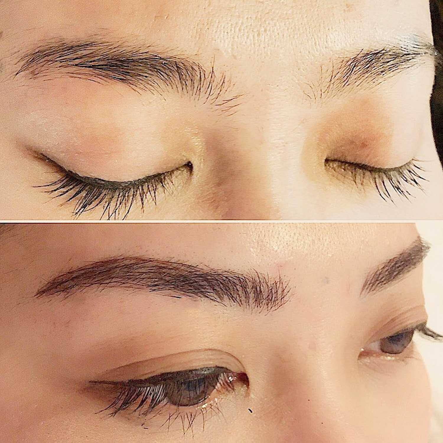 eyebrow tattoo before and after