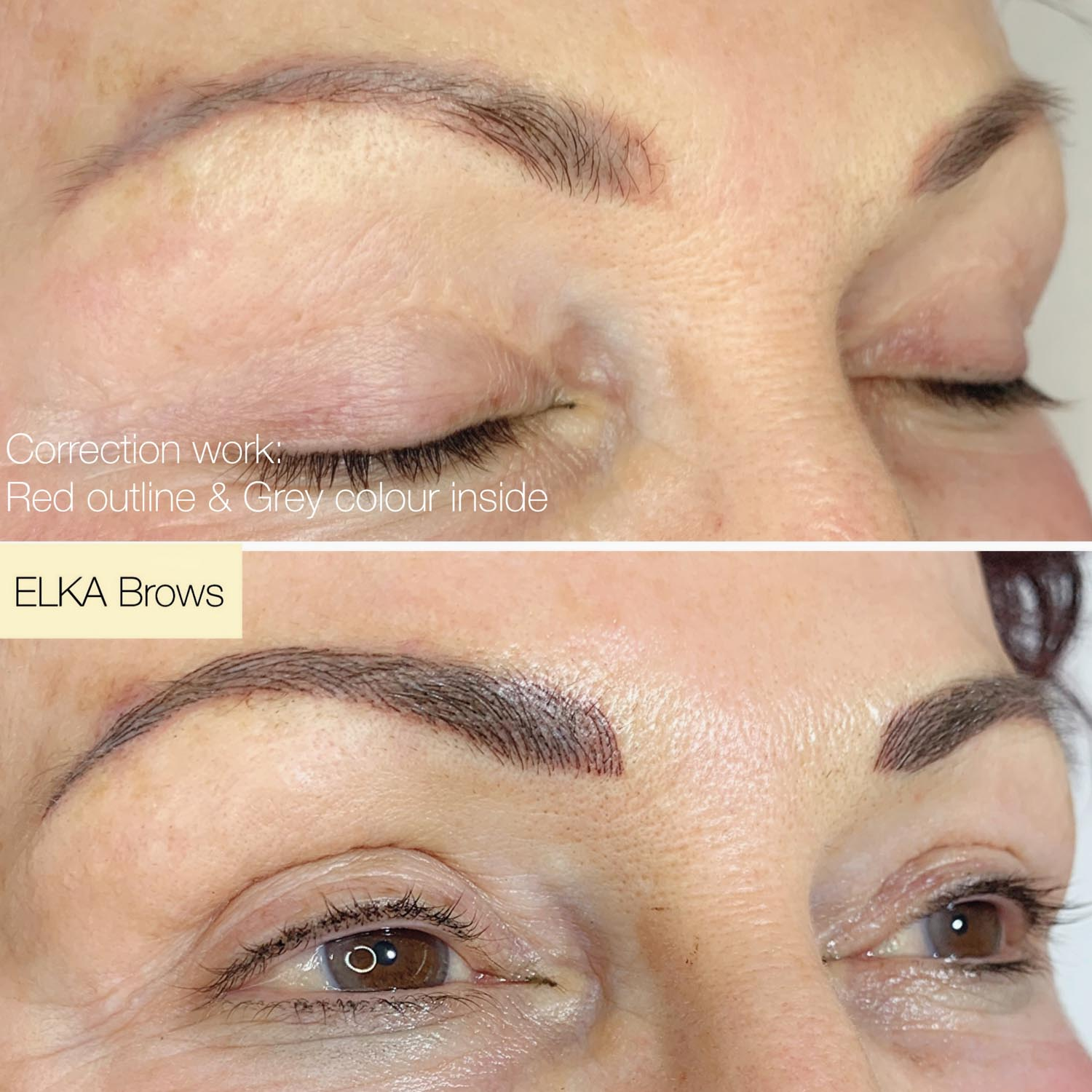 eyebrow tattoo color correction work