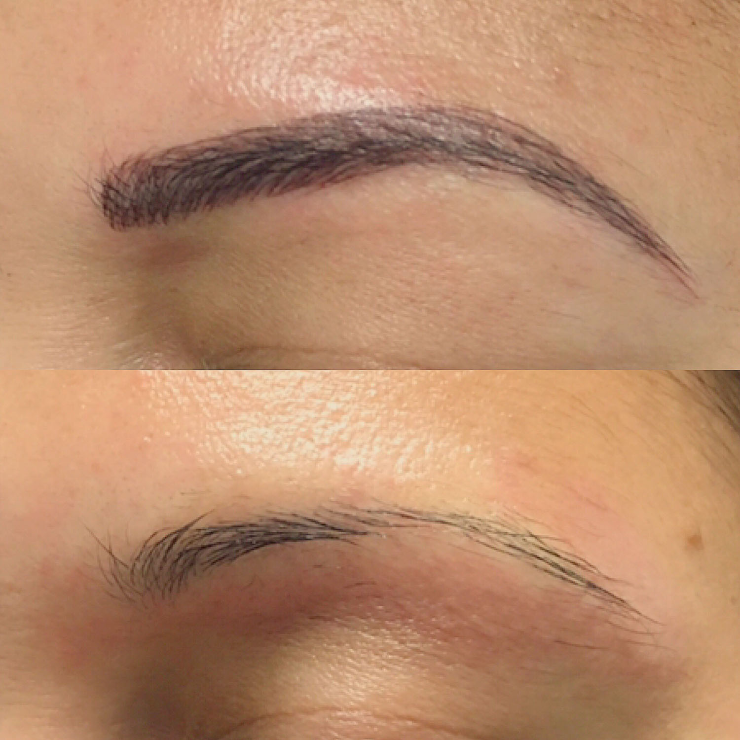 eyebrow tattoo on client