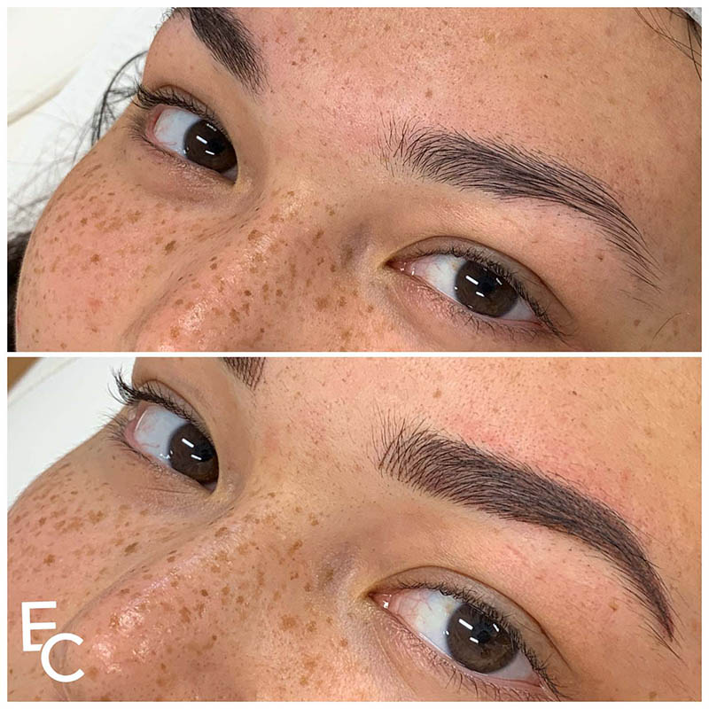 Before and after image of combination brows