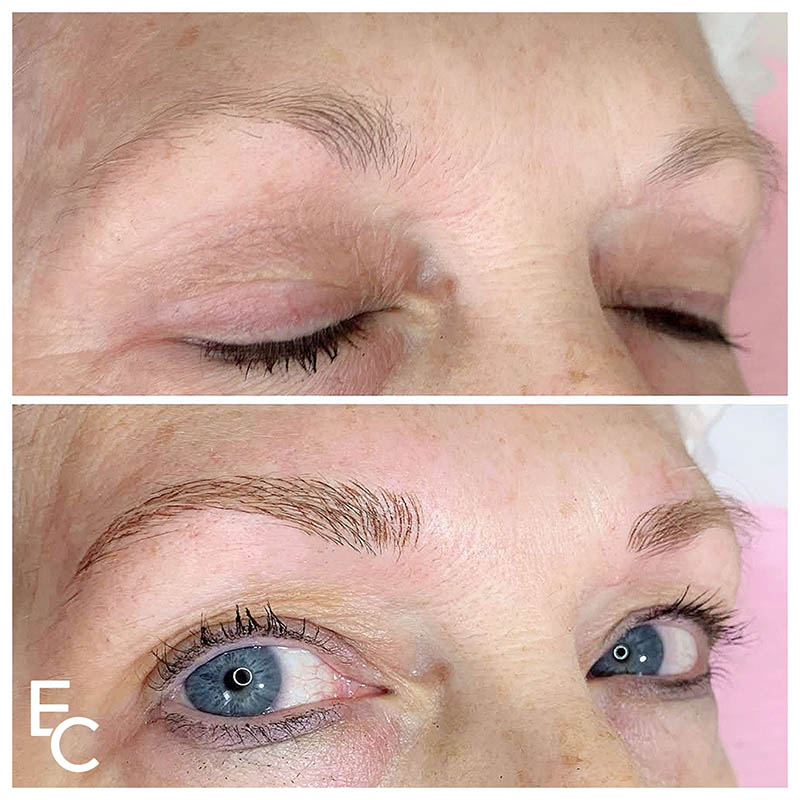 before and after images of feather touch brows