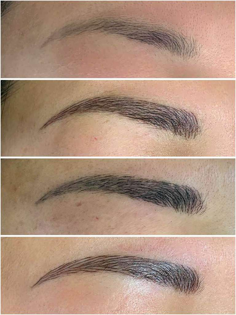 Healing stages of eyebrow microblading